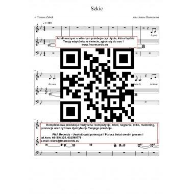 Szkic - nuty (prymka, akordy, tekst)