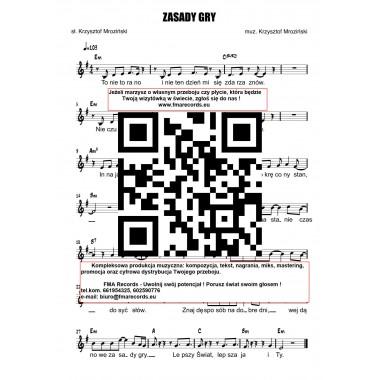 Zasady gry - nuty (prymka, akordy, tekst)